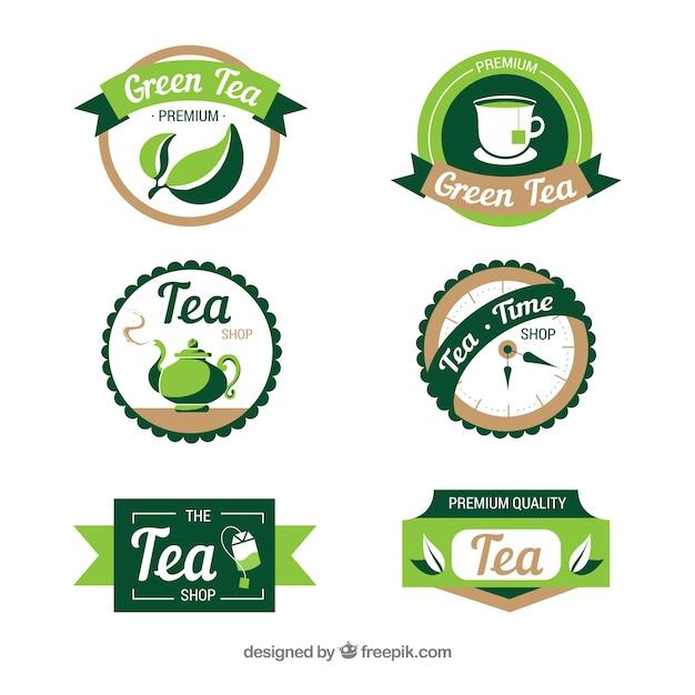 Thé feuilles collection de logo Vecteur gratuit
