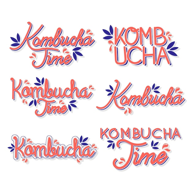 Thé Kombucha - Collection De Lettrage Vecteur gratuit