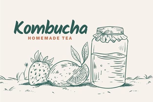 Thé Kombucha Design Dessiné à La Main Vecteur gratuit