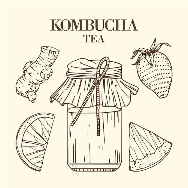 Thé Kombucha Dessiné à La Main Vecteur gratuit