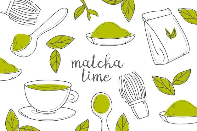 Thé Matcha Dessiné à La Main Et Fond De Feuilles Vecteur Premium