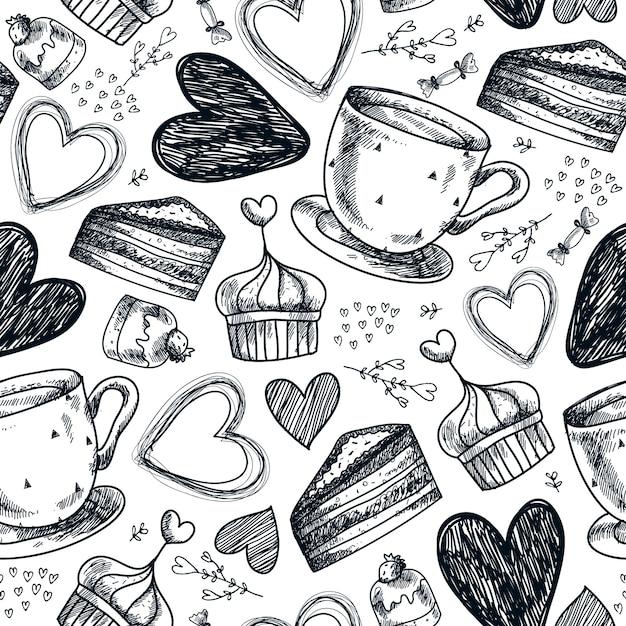 Thé Sans Couture, Café, Petits Gâteaux, Bonbons, Motif Dessiné à La Main De Coeurs. Fond Dessiné à La Main Vintage Noir Et Blanc Vecteur Premium
