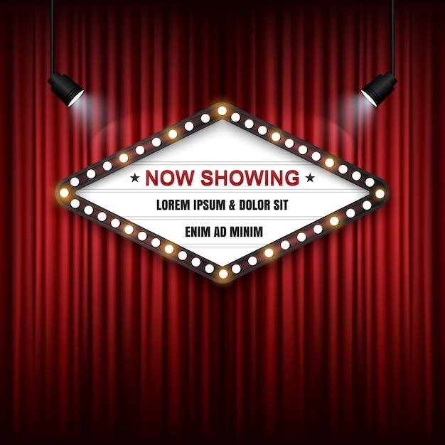 Théâtre cinéma signe sur le rideau rouge   Télécharger des Vecteurs ...
