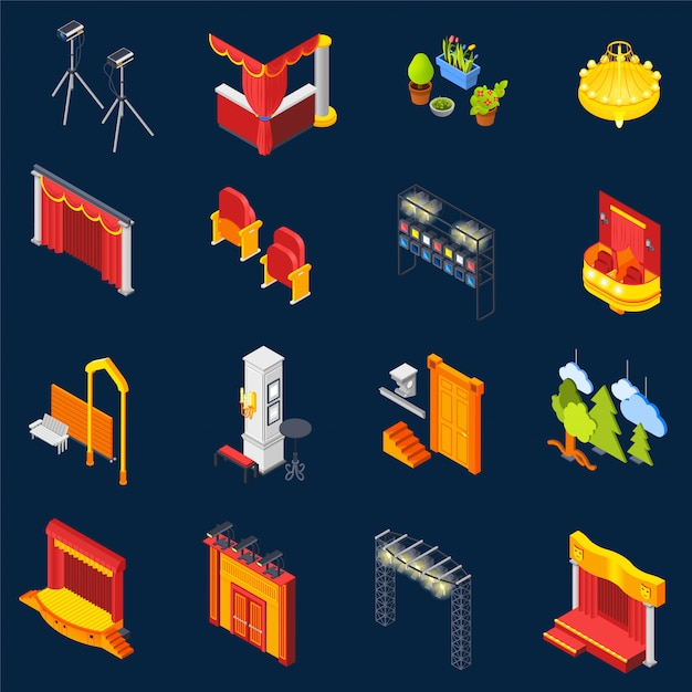 Theatre isometric icons set Vecteur gratuit