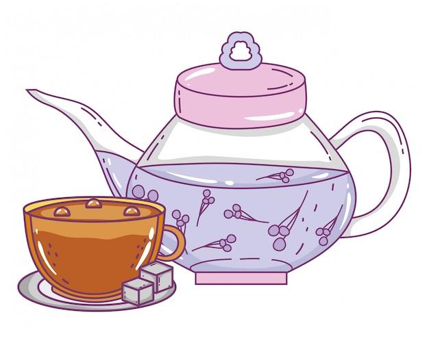 Théière isolée et tasse à café Vecteur Premium
