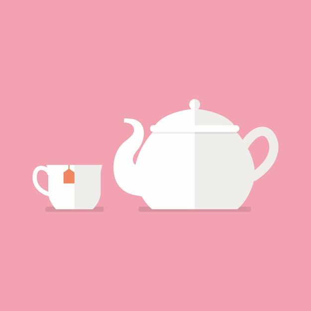 Théière et tasse à thé en céramique Vecteur Premium