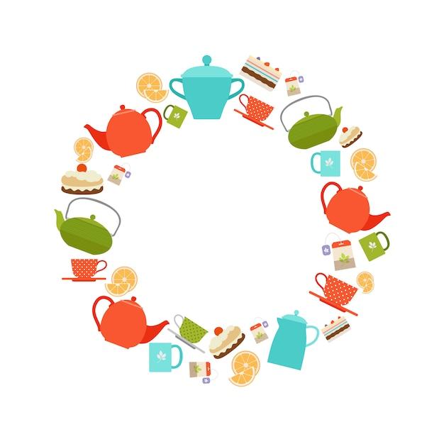 Théières, tasses et gâteaux autour du cadre Vecteur Premium