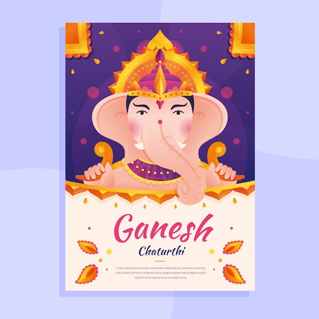 Thème De L'affiche Ganesh Chaturthi Vecteur gratuit