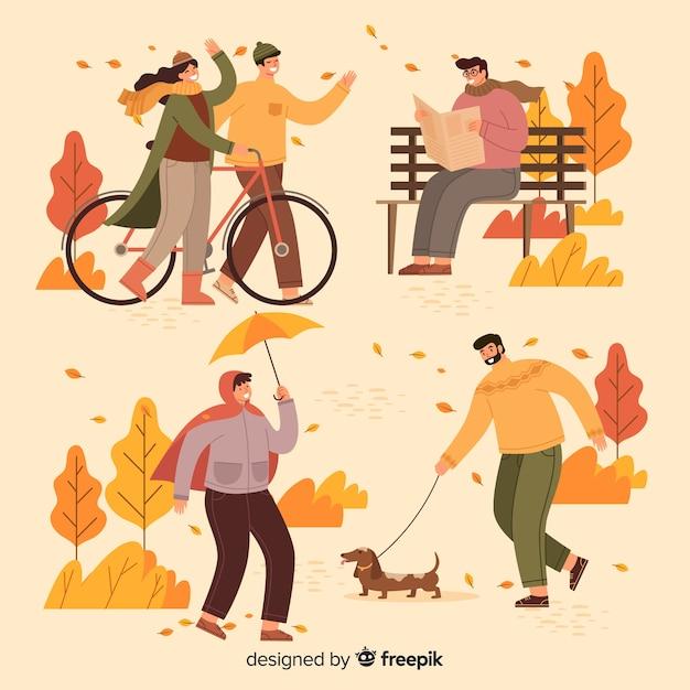 Thème automne illustration dans le parc Vecteur gratuit