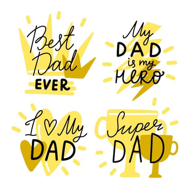 Thème De Badges De Fête Des Pères Vecteur gratuit