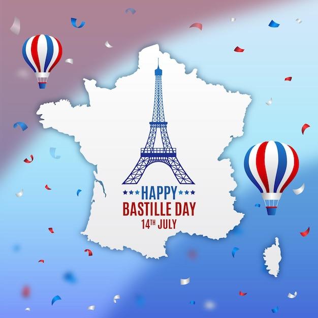 Thème Bastille Day Design Plat Vecteur gratuit