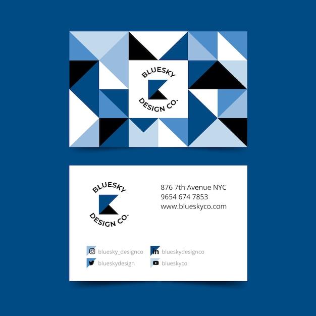 Thème Bleu Classique Abstrait Pour Modèle De Carte De Visite Vecteur gratuit