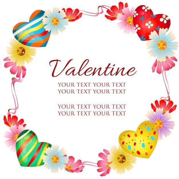Thème de cadre valentine avec des bonbons de fleurs et de coeur Vecteur Premium