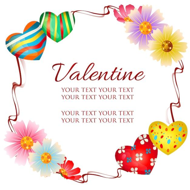 Thème de cadre valentine avec décoration coeur Vecteur Premium