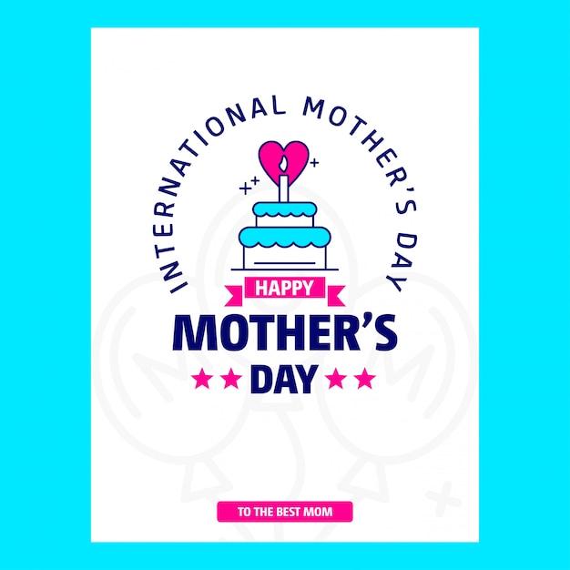 Thème de carte de fête des mères withblue et vecteur de conception créative Vecteur gratuit