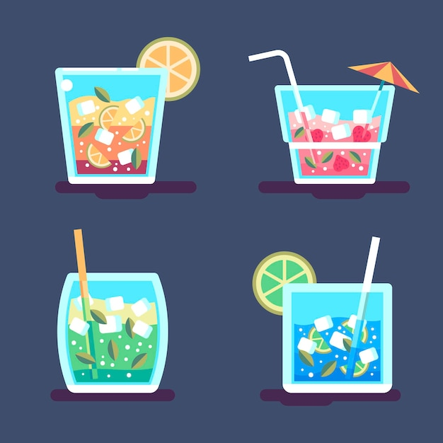 Thème De La Collection De Cocktails Vecteur gratuit
