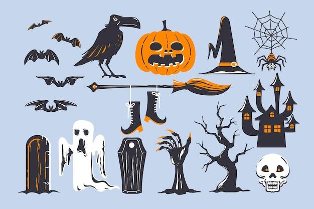 Thème De La Collection D'éléments Halloween Vecteur Premium