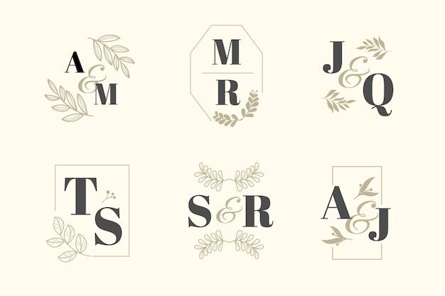Thème De Collection De Monogramme De Mariage élégant Vecteur gratuit