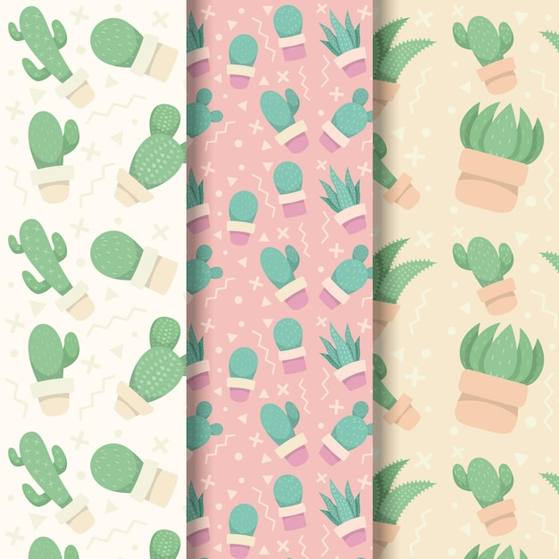 Thème De La Collection De Motifs De Cactus Vecteur gratuit
