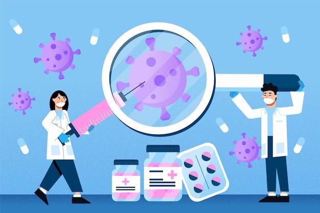 Thème De Développement Du Vaccin Contre Les Coronavirus Vecteur gratuit