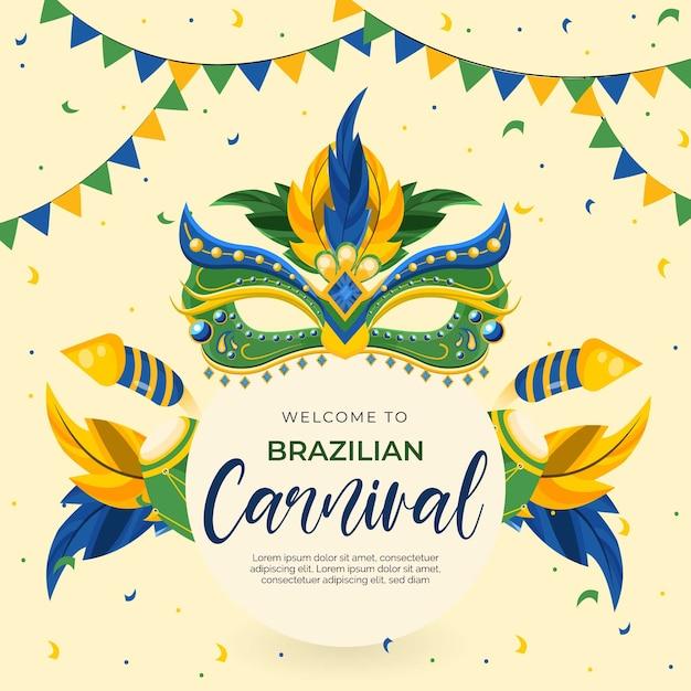 Thème Du Carnaval Brésilien Design Plat Avec Des Masques Vecteur gratuit