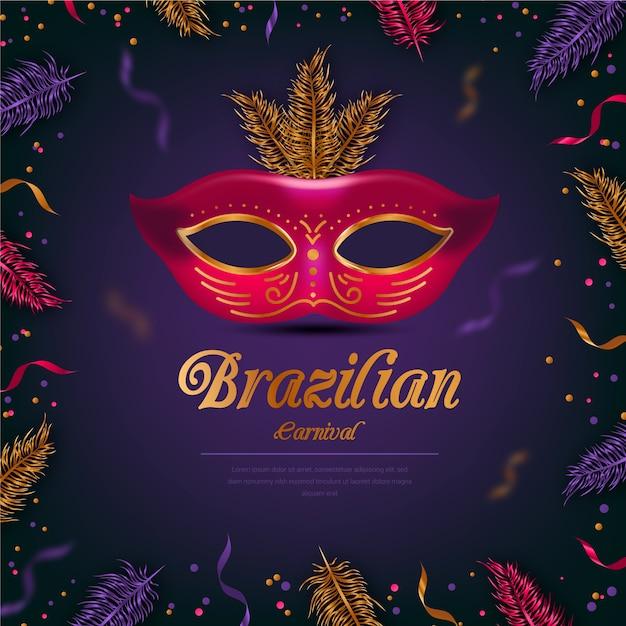 Thème Du Carnaval Brésilien Réaliste Avec Masque Rouge Vecteur gratuit