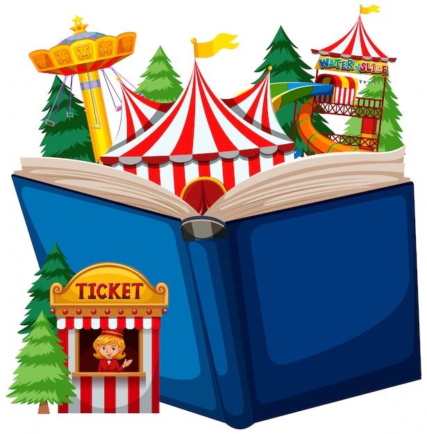 Thème du cirque à livre ouvert Vecteur gratuit