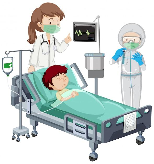 Thème Du Coronavirus Avec Un Garçon Malade Sur Un Lit D'hôpital Vecteur gratuit