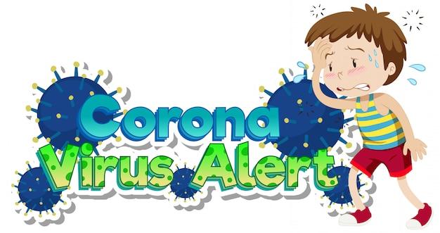 Thème Du Coronavirus Avec Un Garçon Malade Souffrant De Fièvre Vecteur gratuit