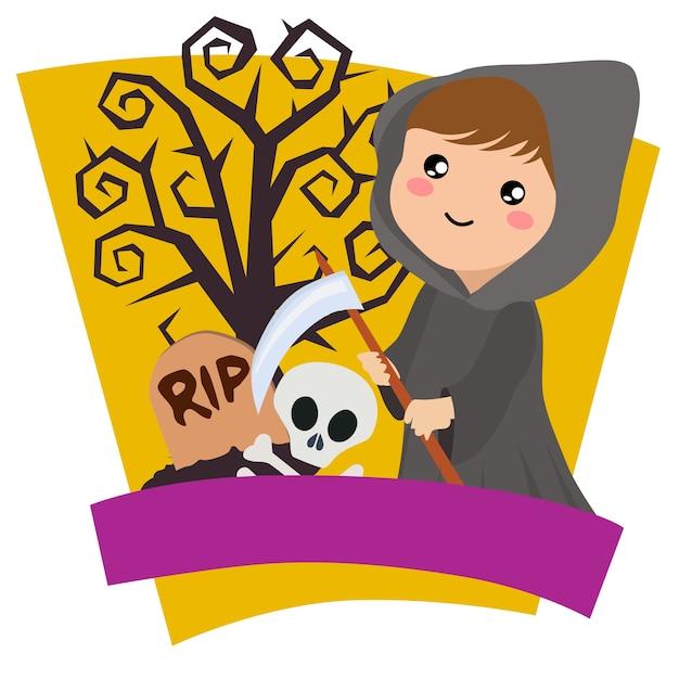 Thème du costume pour enfants halloween Vecteur Premium