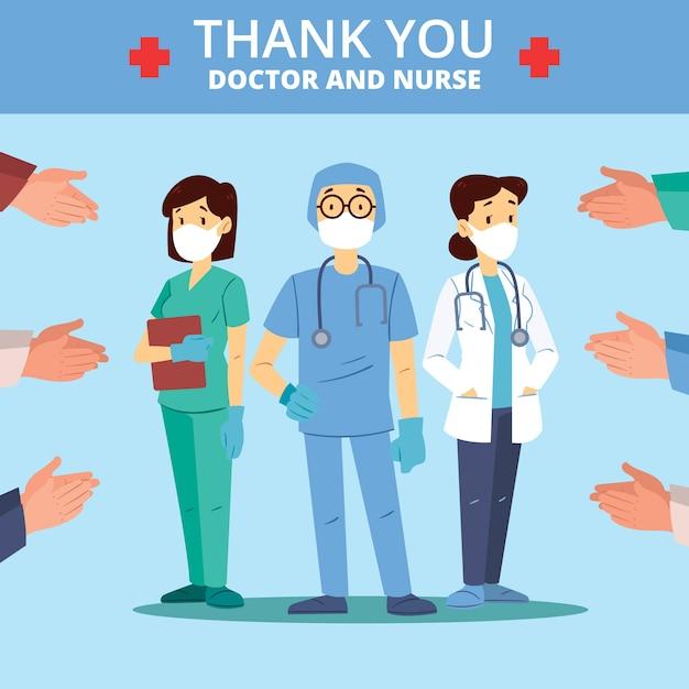 Thème Du Message Merci Infirmières Et Médecins Vecteur gratuit