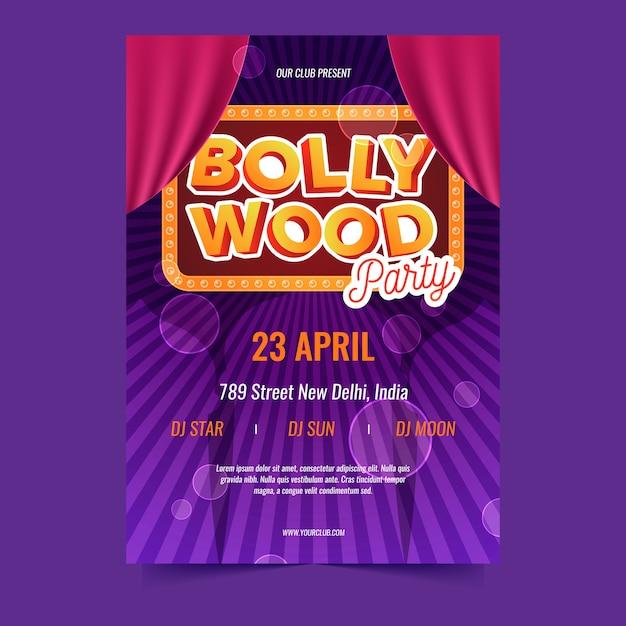 Thème Du Modèle D'affiche De La Fête De Bollywood Vecteur gratuit