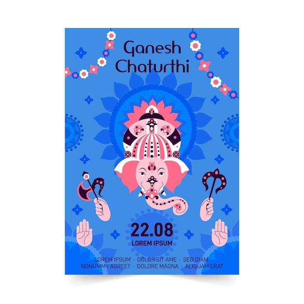 Thème Du Modèle D'affiche Ganesh Chaturthi Vecteur gratuit