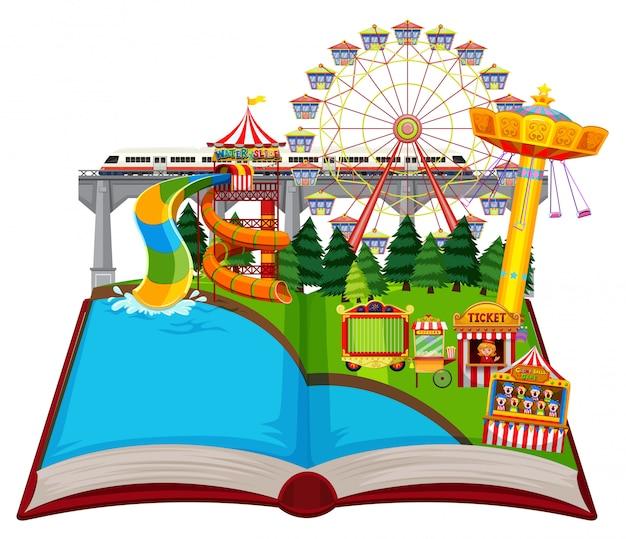 Thème du parc d'amusement à livre ouvert Vecteur Premium