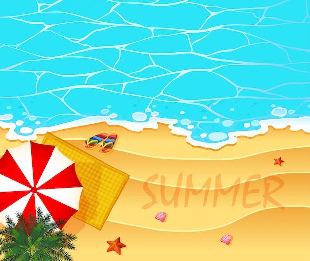 Thème de l'été avec fond océan et plage Vecteur gratuit