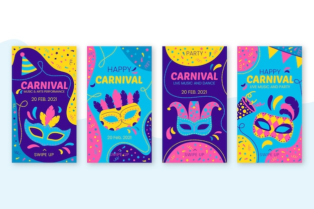 Thème De Fête De Carnaval Pour Des Histoires Instagram Vecteur gratuit