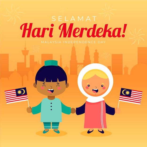 Thème De La Fête De L'indépendance De La Malaisie Vecteur gratuit