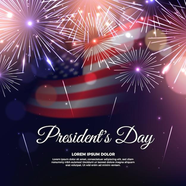 Thème Des Feux D'artifice Pour La Journée Des Présidents Vecteur gratuit