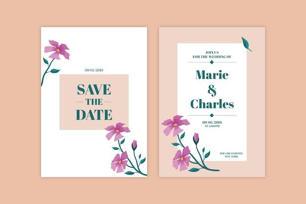 Thème Floral Minimaliste Pour Invitation De Mariage Vecteur gratuit