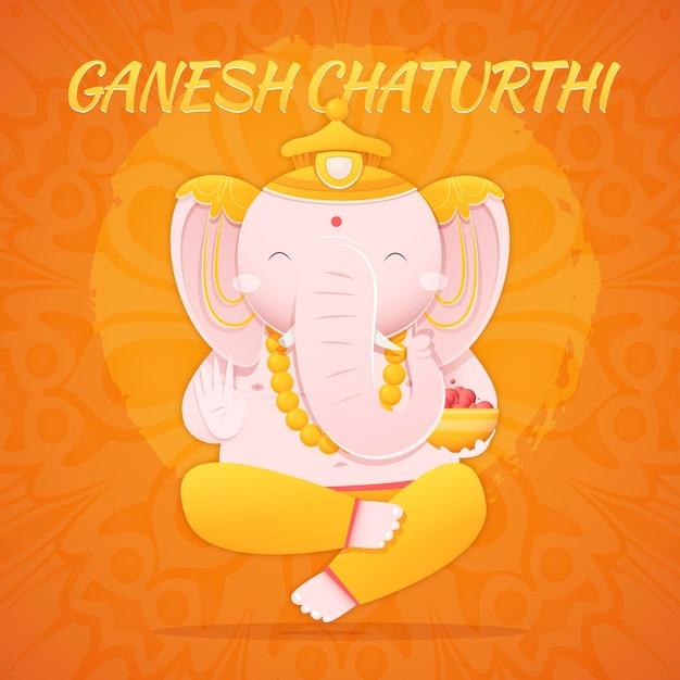 Thème Ganesh Chaturthi Design Plat Vecteur gratuit