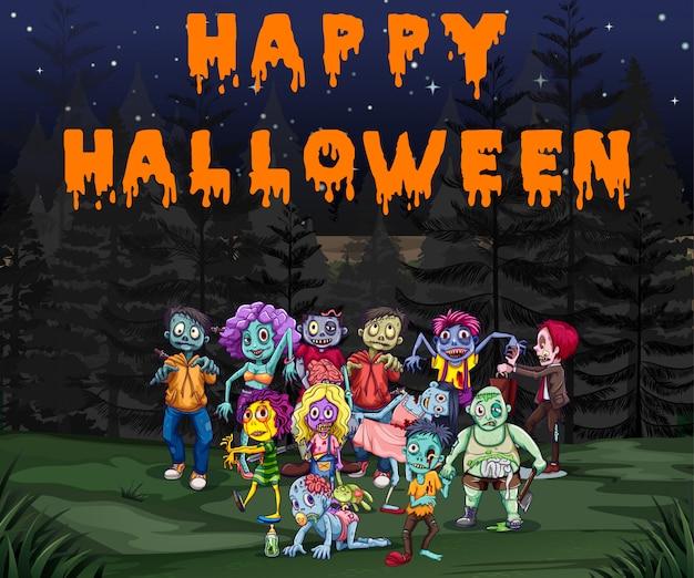Thème halloween avec des zombies dans le parc Vecteur gratuit
