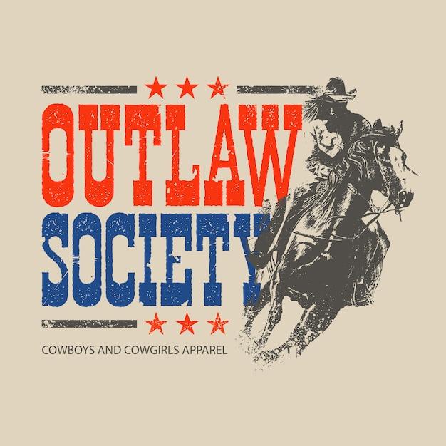 Thème illustration cowboy hors la loi Vecteur Premium