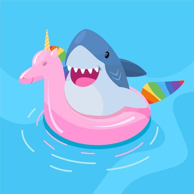 Thème Illustré De Bébé Requin Design Plat Vecteur gratuit