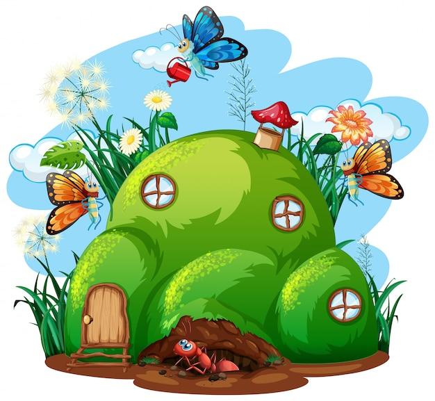 Thème De Jardinage Avec Des Insectes Dans Leur Maison Vecteur gratuit