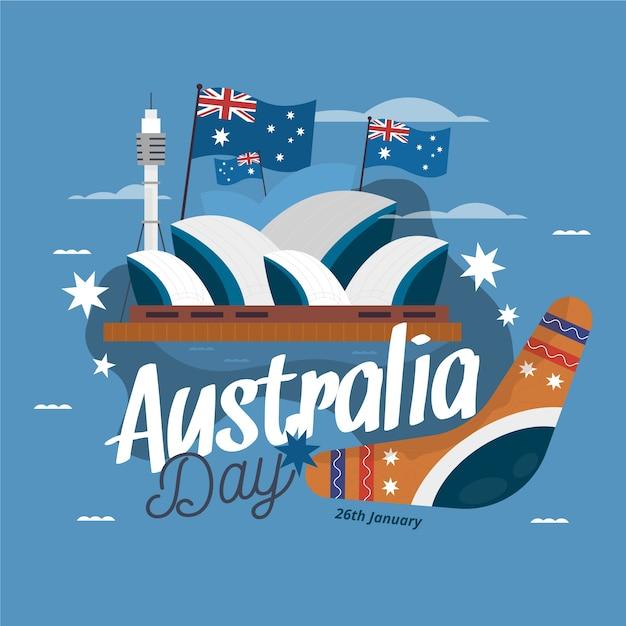 Thème De La Journée De L'australie Au Design Plat Vecteur gratuit