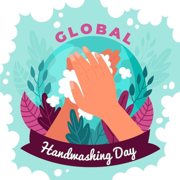 Thème De La Journée Mondiale Du Lavage Des Mains Vecteur gratuit