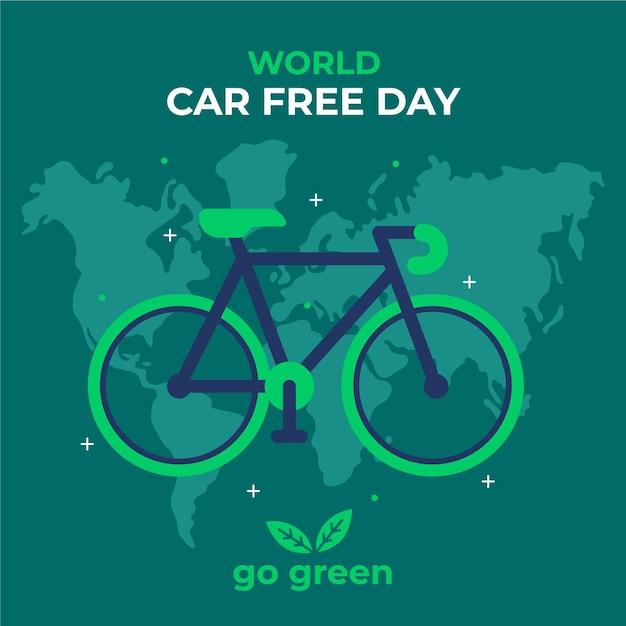 Thème De La Journée Mondiale Sans Voiture Vecteur gratuit