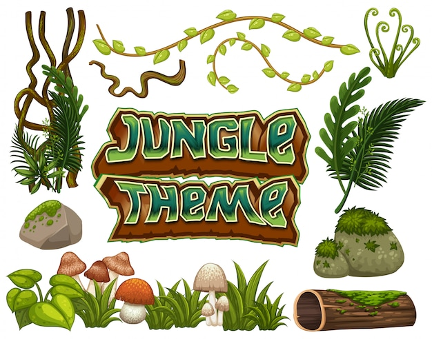 Thème de la jungle ensemble d'objets Vecteur Premium