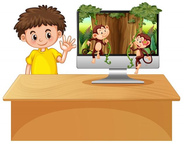Thème De La Jungle Sur Fond D'ordinateur Vecteur gratuit