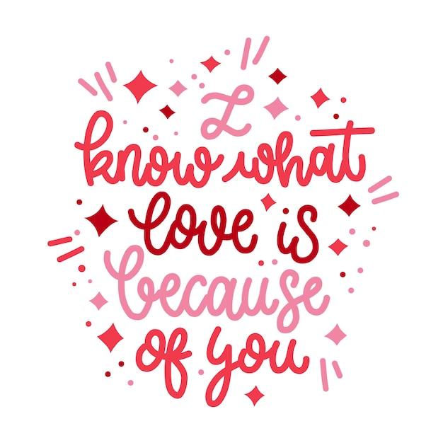 Thème De Message De Lettrage Romantique Vecteur gratuit